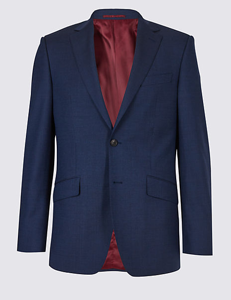Big & Tall Indigo Textured Regular Fit Wool Jacket