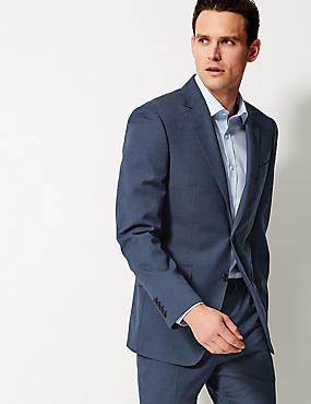 Indigo Textured Regular Fit Wool Suit