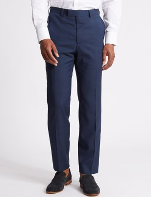 Big & Tall Indigo Textured Regular Fit Wool Trousers