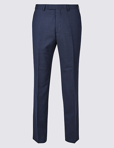 Indigo Textured Regular Fit Wool Trousers