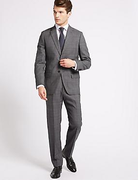 Grey Textured Regular Fit Wool Suit