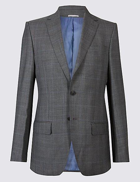 Grey Textured Regular Fit Wool Jacket