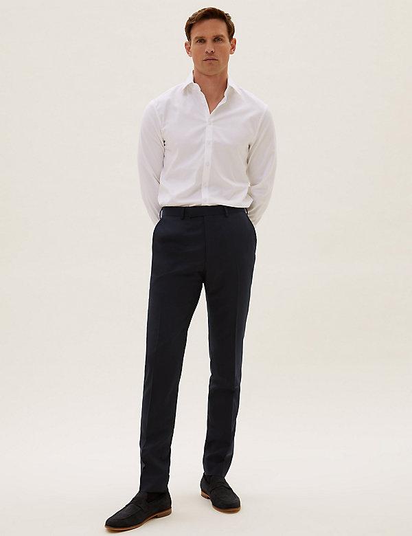 Pantalon bleu marine en laine coupe slim
