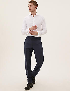 Pantalon bleu marine en laine coupe standard
