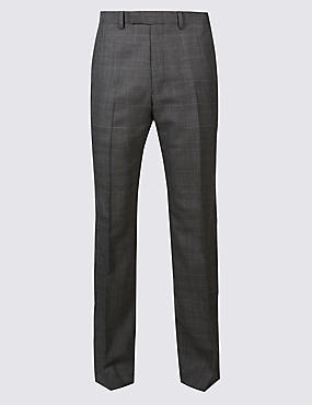 Grey Textured Regular Fit Wool Trousers