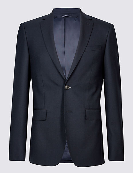 Navy Slim Fit Wool Jacket