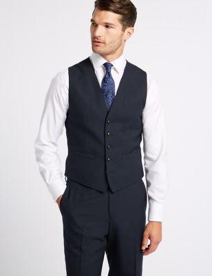 Gilet de costume bleu marine en laine coupe standard