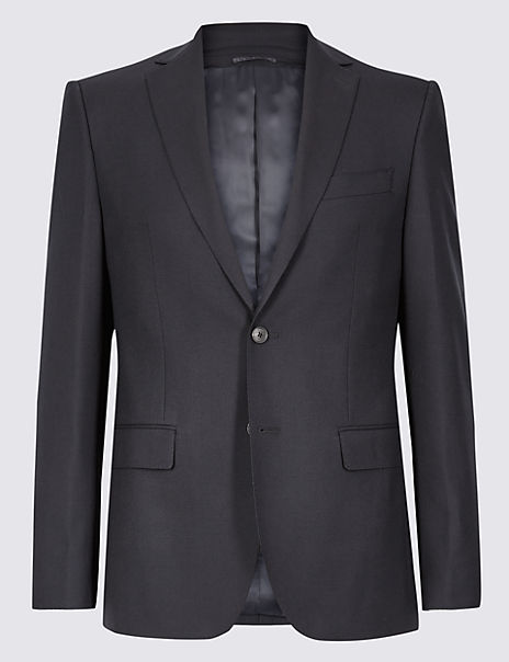 Navy Tailored Fit Wool Jacket