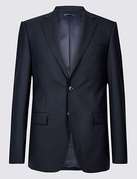 Navy Regular Fit Wool Jacket