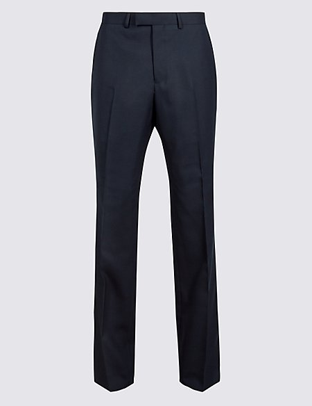 Navy Regular Fit Wool Trousers