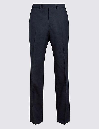 ae00489ddd3 Tmavomodré vlněné kalhoty klasického střihu