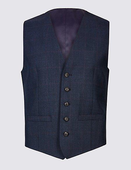 Indigo Checked Tailored Fit Wool Waistcoat
