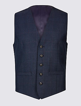 Indigo Checked Tailored Fit Wool Waistcoat