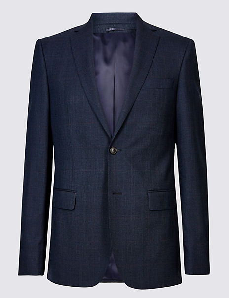 Indigo Checked Tailored Fit Wool Jacket