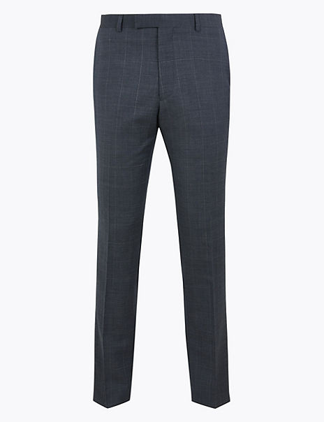 Blue Checked Slim Fit Wool Trousers