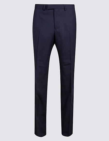 Indigo Checked Tailored Fit Wool Trousers