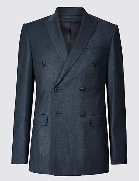Blue Textured Tailored Fit Wool Jacket