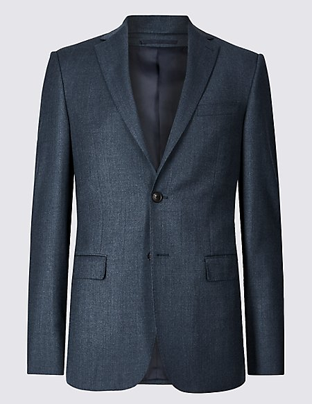 Textured Tailored Fit Wool Jacket