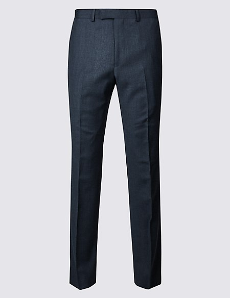 Textured Tailored Fit Wool Trousers