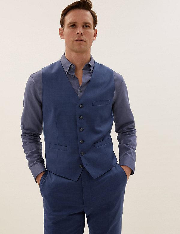 Chaleco azul de corte sastre de lana