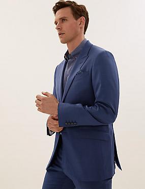 Chaqueta azul de corte sastre de lana