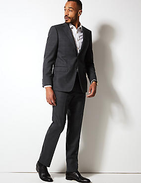 Charcoal Checked Regular Fit Wool Suit