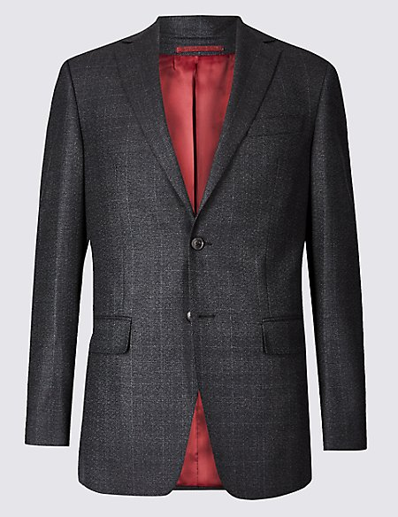 Charcoal Checked Regular Fit Wool Jacket