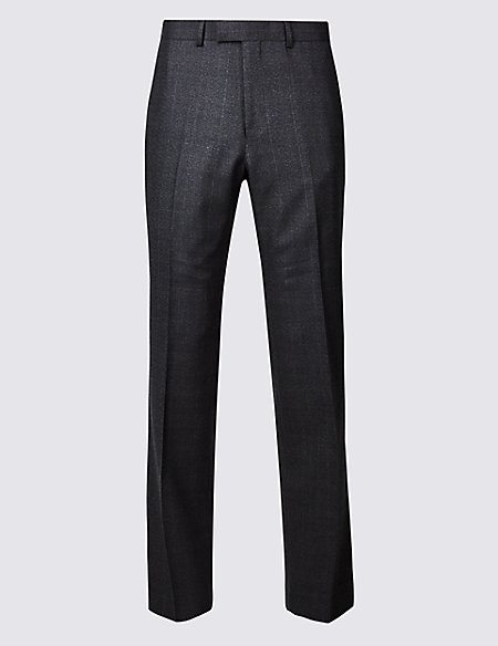 Charcoal Checked Regular Fit Wool Trousers