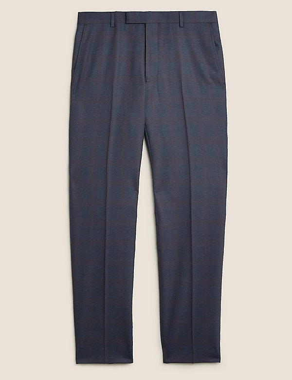 Tailored Fit Wool Check Trousers