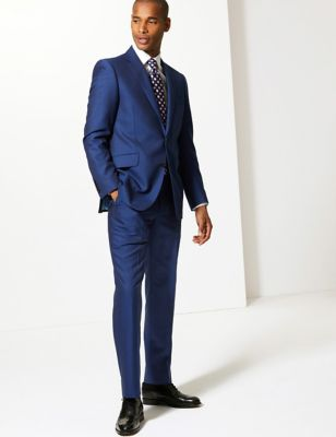 Blue Tailored Fit Wool Jacket