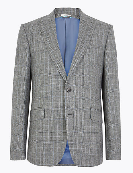 Tailored Wool Checked Jacket