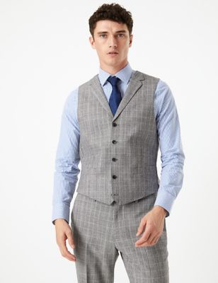 Grey Checked Tailored Fit Wool Waistcoat