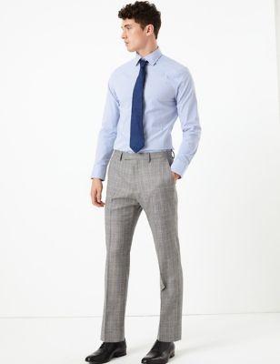 Pantalon gris en laine coupe ajustée à carreaux