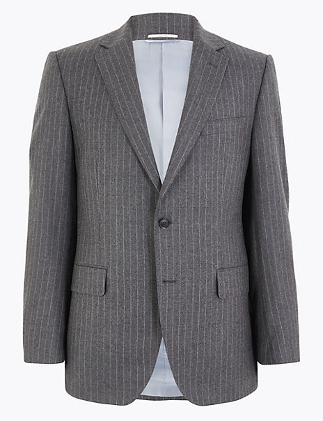 Charcoal Striped Tailored Fit Wool Jacket