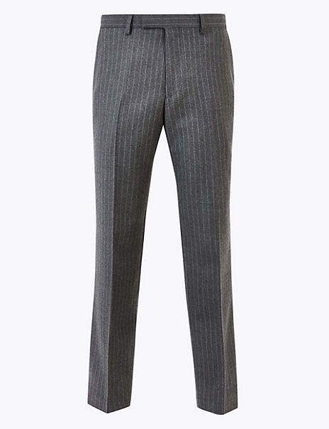 Grey Striped Tailored Fit Wool Trousers