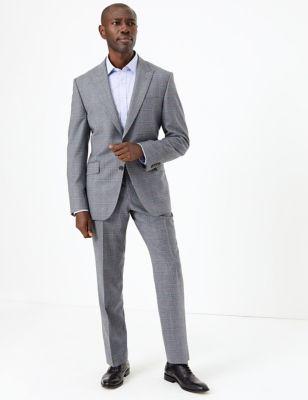 Mens Savile Row Inspired Veste grise en laine coupe ajustée à carreaux - Grey Mix