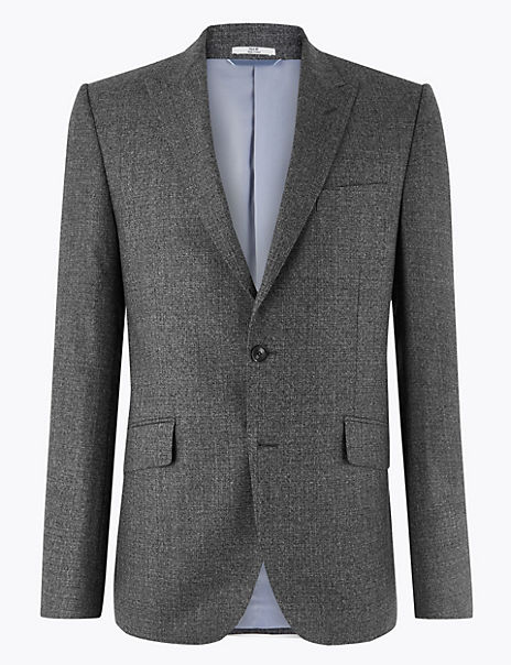 Charcoal Tailored Fit Wool Jacket