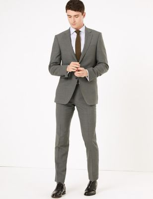 Mens Savile Row Inspired Veste ajustée en laine - Grey