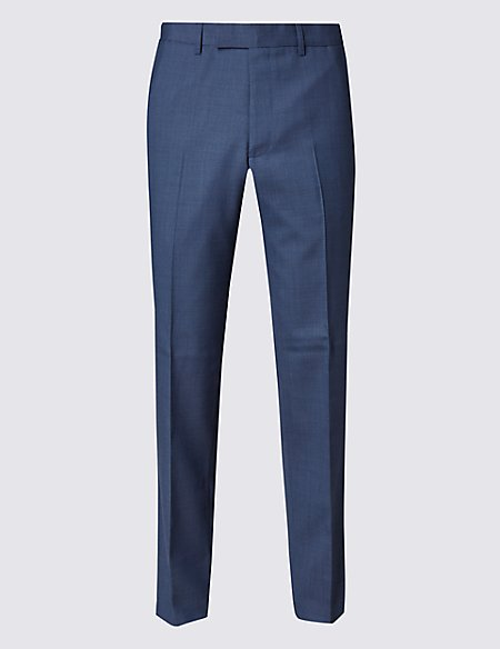Blue Tailored Fit Trousers