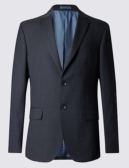 Big & Tall Navy Striped Regular Fit Jacket