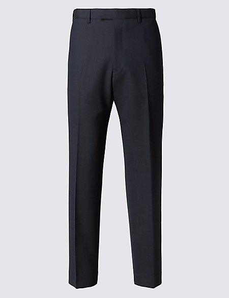 Navy Striped Regular Fit Trousers