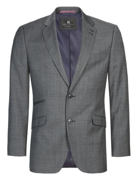 Grey Checked Slim Fit Jacket