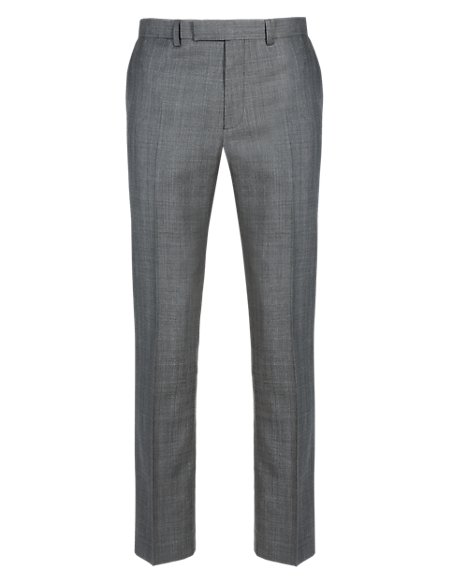 Grey Checked Slim Fit Trousers