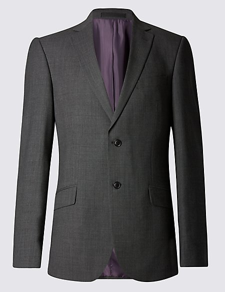 Grey Regular Fit Single Breasted Jacket