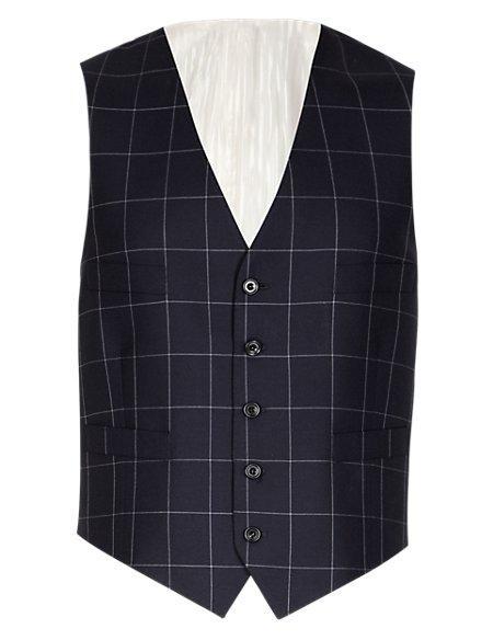 Pure New Wool Checked Waistcoat