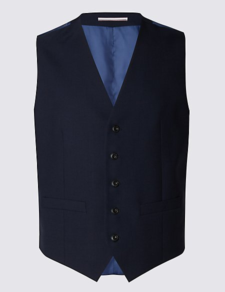 Navy Tailored Fit Wool Waistcoat