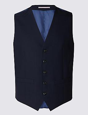 Navy Tailored Fit Wool Waistcoat