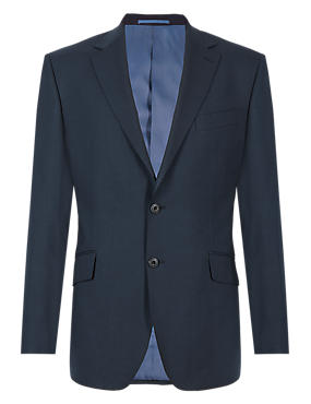 Navy Regular Fit Wool 3 Piece Suit