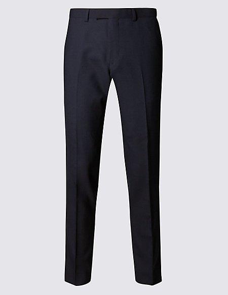 Navy Slim Fit Wool Trousers