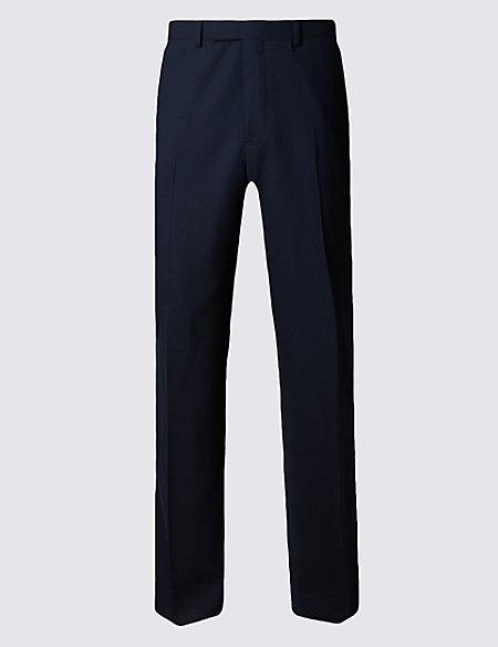 Navy Regular Fit Wool Trousers